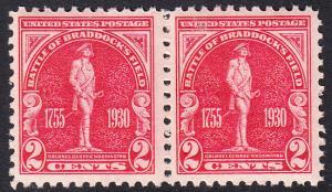 USA Michel 329 / Scott 688 postfrisch horiz.PAAR (a3) - 175. Jahrestag der Schlacht von Braddock's Field (Schlacht bei Monongahela)