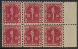 USA Michel 329 / Scott 688 postfrisch horiz.BLOCK(6) RÄNDER rechts (a1) - 175. Jahrestag der Schlacht von Braddock's Field (Schlacht bei Monongahela)