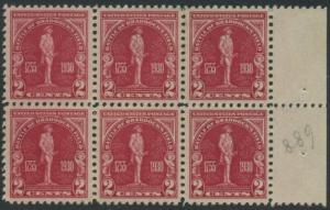 USA Michel 329 / Scott 688 postfrisch horiz.BLOCK(6) RÄNDER rechts (a2) - 175. Jahrestag der Schlacht von Braddock's Field (Schlacht bei Monongahela)
