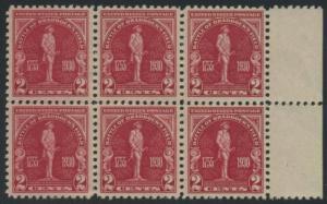 USA Michel 329 / Scott 688 postfrisch horiz.BLOCK(6) RÄNDER rechts (a3) - 175. Jahrestag der Schlacht von Braddock's Field (Schlacht bei Monongahela)