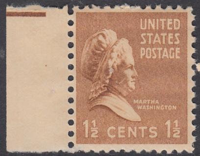 USA Michel 412 / Scott 805 postfrisch EINZELMARKE RAND links - Präsidenten der USA: Martha Washington