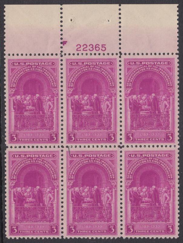 USA Michel 449 / Scott 854 postfrisch PLATEBLOCK(6) RÄNDER oben m/Platten-# 22365 - George Washington, 1. Präsident der USA (Vereidigung)