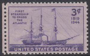 """USA Michel 526 / Scott 923 postfrisch EINZELMARKE RAND links - 125. Jahrestag der ersten Atlantiküberquerung durch ein Dampfschiff: Raddampfer """"Savannah"""""""