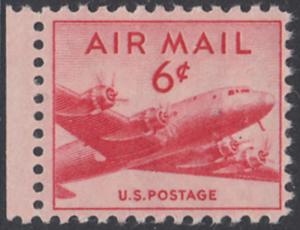 USA Michel 553A / Scott C39 postfrisch Luftpost-EINZELMARKE RAND links (a1) - Douglas DC-4 Skymaster