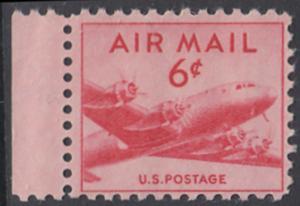 USA Michel 553A / Scott C39 postfrisch Luftpost-EINZELMARKE RAND links (a2) - Douglas DC-4 Skymaster
