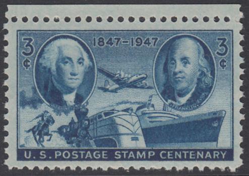 USA Michel 555 / Scott 947 postfrisch EINZELMARKE RAND oben - 100 Jahre Briefmarken der USA: George Washington, Benjamin Franklin, Verkehrsmittel zur Postbeförderung
