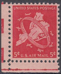 USA Michel 572 / Scott C38 postfrisch Luftpost-EINZELMARKE ECKRAND unten links - 50 Jahre Groß-New-York: Karte der 5 Verwaltungsbezirke von Groß-New-York