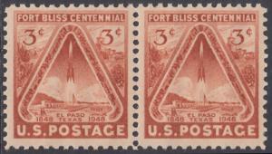 USA Michel 589 / Scott 976 postfrisch horiz.PAAR - 100 Jahre Fort Bliss bei El Paso, Texas; Start einer Rakete