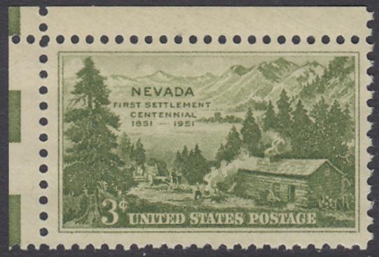 USA Michel 617 / Scott 999 postfrisch EINZELMARKE ECKRAND oben links - 100 Jahre Besiedlung des Staates Nevada: Carson Valley (1851)