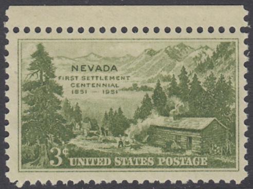 USA Michel 617 / Scott 999 postfrisch EINZELMARKE RAND oben  - 100 Jahre Besiedlung des Staates Nevada: Carson Valley (1851)