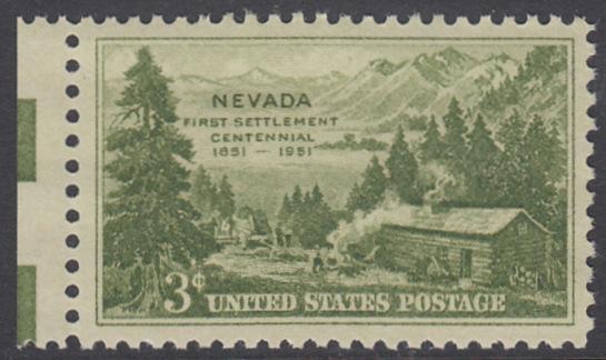 USA Michel 617 / Scott 999 postfrisch EINZELMARKE RAND links - 100 Jahre Besiedlung des Staates Nevada: Carson Valley (1851)