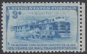 USA Michel 624 / Scott 1006 postfrisch EINZELMARKE RAND rechts - 125. Jahrestag der Verleihung der Eisenbahnrechte an die Baltimore and Ohio Railroad