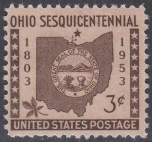 USA Michel 637 / Scott 1018 postfrisch EINZELMARKE - 150 Jahre Staat Ohio: Rosskastanienblatt, Landkarte von Ohio, Staatssiegel