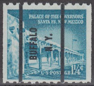 USA Michel 652 / Scott 1031A postfrisch EINZELMARKE precancelled (a2) - Bedeutende Amerikaner, Bauwerke: Palast des Gouverneurs in Santa Fe, NM
