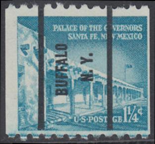 USA Michel 652 / Scott 1031A postfrisch EINZELMARKE precancelled (a3) - Bedeutende Amerikaner, Bauwerke: Palast des Gouverneurs in Santa Fe, NM