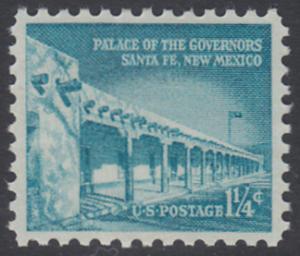 USA Michel 652 / Scott 1031A postfrisch EINZELMARKE - Bedeutende Amerikaner, Bauwerke: Palast des Gouverneurs in Santa Fe, NM