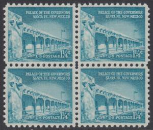USA Michel 652 / Scott 1031A postfrisch BLOCK - Bedeutende Amerikaner, Bauwerke: Palast des Gouverneurs in Santa Fe, NM