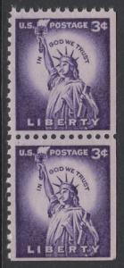 USA Michel 656 / Scott 1035a postfrisch vert.PAAR (rechts / unten ungezähnt) - Bedeutende Amerikaner, Bauwerke: Freiheitsstatue