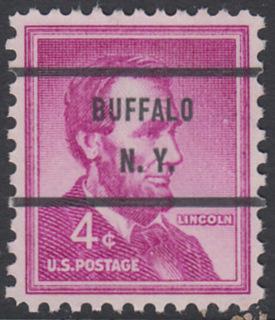 USA Michel 657 / Scott 1036 postfrisch EINZELMARKE precancelled (a1) - Bedeutende Amerikaner, Bauwerke: Abraham Lincoln