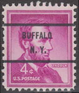 USA Michel 657 / Scott 1036 postfrisch EINZELMARKE precancelled (a2) - Bedeutende Amerikaner, Bauwerke: Abraham Lincoln