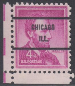 USA Michel 657 / Scott 1036 postfrisch EINZELMARKE ECKRAND unten links (precancelled) - Bedeutende Amerikaner, Bauwerke: Abraham Lincoln