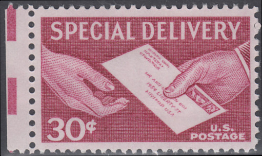 USA Michel 683 / Scott E21 postfrisch Eilmarken-EINZELMARKE RAND links - Briefübergabe