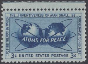 USA Michel 691 / Scott 1070 postfrisch EINZELMARKE RAND oben - Atomkraft für den Frieden: Atomsymbol mit Erdhalbkugeln
