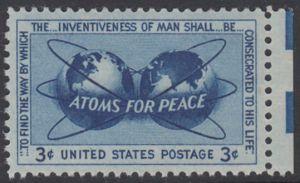 USA Michel 691 / Scott 1070 postfrisch EINZELMARKE RAND rechts - Atomkraft für den Frieden: Atomsymbol mit Erdhalbkugeln