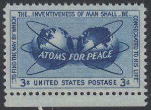 USA Michel 691 / Scott 1070 postfrisch EINZELMARKE RAND unten - Atomkraft für den Frieden: Atomsymbol mit Erdhalbkugeln