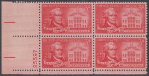 USA Michel 708/ / Scott 1086 postfrisch PLATEBLOCK ECKRAND unten links m/Platten-# 25597 - 200. Geburtstag von Alexander Hamilton, Politiker; Federal Hall, New York