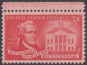 USA Michel 708/ / Scott 1086 postfrisch EINZELMARKE RAND oben - 200. Geburtstag von Alexander Hamilton, Politiker; Federal Hall, New York