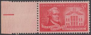 USA Michel 708/ / Scott 1086 postfrisch EINZELMARKE RAND links - 200. Geburtstag von Alexander Hamilton, Politiker; Federal Hall, New York