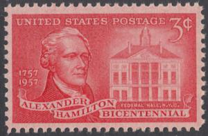 USA Michel 708/ / Scott 1086 postfrisch EINZELMARKE - 200. Geburtstag von Alexander Hamilton, Politiker; Federal Hall, New York