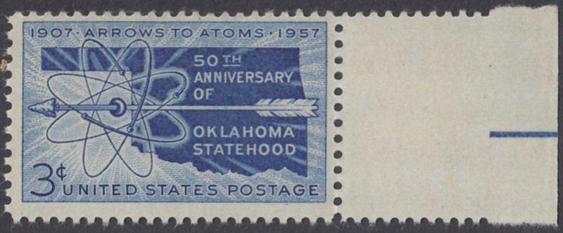 USA Michel 714 / Scott 1092 postfrisch EINZELMARKE RAND rechts - 50 Jahre Staat Oklahoma: Landkarte von Oklahoma, Atomsymbol mit Pfeil