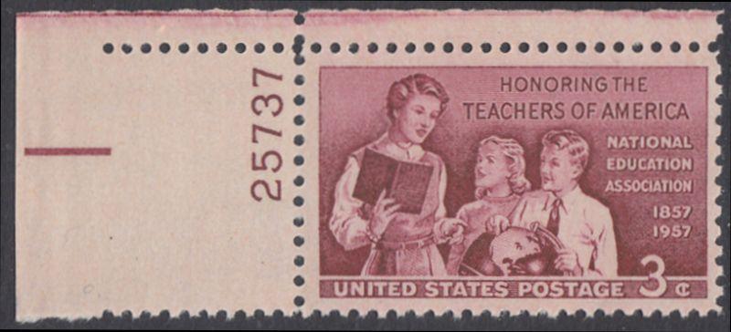 USA Michel 715 / Scott 1093 postfrisch EINZELMARKE ECKRAND oben links m/ Platten-# 25737 - 100 Jahre Lehrer-Vereinigung: Lehrerin mit Schülern