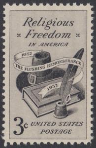 USA Michel 722 / Scott 1099 postfrisch EINZELMARKE - 300. Jahrestag der Gewährung der Religionsfreiheit (Flushing Remonstrance)