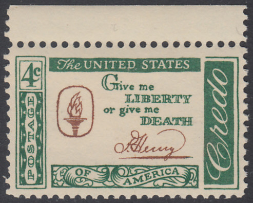 USA Michel 771 / Scott 1144 postfrisch EINZELMARKE RAND oben - Amerikanisches Credo mit Aussprüchen berühmter Amerikaner (Patrick Henry)