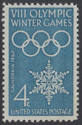 USA Michel 773 / Scott 1146 postfrisch EINZELMARKE - Olympische Winterspiele, Squaw Valley, CA; Olympische Ringe, Schneekristall
