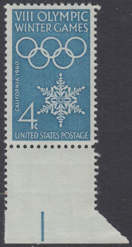 USA Michel 773 / Scott 1146 postfrisch EINZELMARKE RAND unten - Olympische Winterspiele, Squaw Valley, CA; Olympische Ringe, Schneekristall