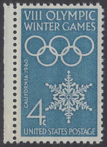 USA Michel 773 / Scott 1146 postfrisch EINZELMARKE RAND links - Olympische Winterspiele, Squaw Valley, CA; Olympische Ringe, Schneekristall 0