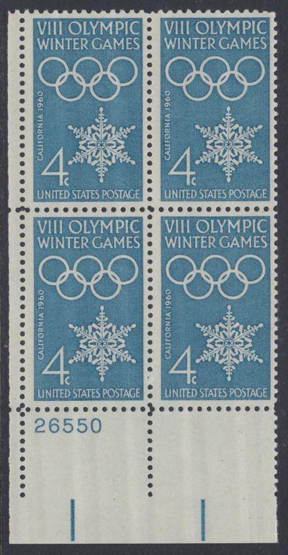 USA Michel 773 / Scott 1146 postfrisch PLATEBLOCK ECKRAND unten links m/Platten-# 26550 - Olympische Winterspiele, Squaw Valley, CA; Olympische Ringe, Schneekristall