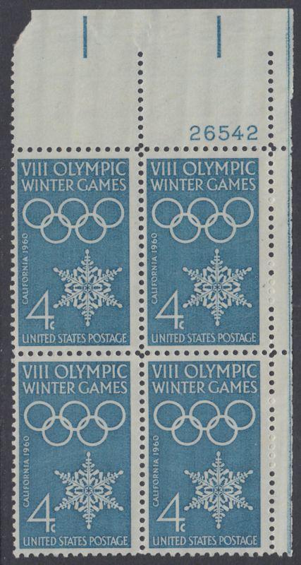 USA Michel 773 / Scott 1146 postfrisch PLATEBLOCK ECKRAND oben rechts m/Platten-# 26542 - Olympische Winterspiele, Squaw Valley, CA; Olympische Ringe, Schneekristall