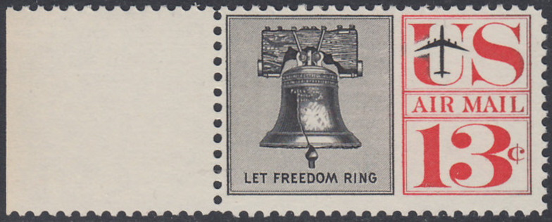 USA Michel 782 / Scott C62 postfrisch Luftpost-EINZELMARKE RAND links - Freiheitsglocke