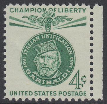 USA Michel 798 / Scott 1168 postfrisch EINZELMARKE RAND rechts - Freiheitskämpfer: Giuseppe Garibaldi, italienischer Freiheitskämpfer und Politiker