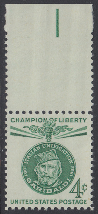 USA Michel 798 / Scott 1168 mit Falzrest EINZELMARKE RAND oben - Freiheitskämpfer: Giuseppe Garibaldi, italienischer Freiheitskämpfer und Politiker