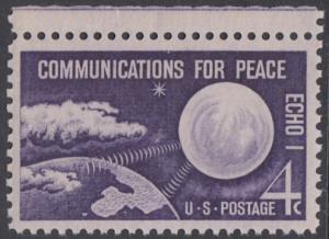 USA Michel 803 / Scott 1173 postfrisch EINZELMARKE RAND oben - Echo I - Nachrichtenverbindungen für den Frieden