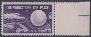 USA Michel 803 / Scott 1173 postfrisch EINZELMARKE RAND rechts - Echo I - Nachrichtenverbindungen für den Frieden