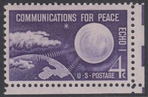 USA Michel 803 / Scott 1173 postfrisch EINZELMARKE ECKRAND unten rechts - Echo I - Nachrichtenverbindungen für den Frieden