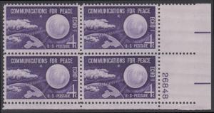 USA Michel 803 / Scott 1173 postfrisch PLATEBLOCK ECKRAND unten rechts m/Platten-# 26848 (c) - Echo I - Nachrichtenverbindungen für den Frieden