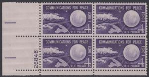 USA Michel 803 / Scott 1173 postfrisch PLATEBLOCK ECKRAND unten links m/Platten-# 26846 (a) - Echo I - Nachrichtenverbindungen für den Frieden